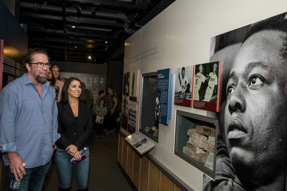 Jeff Bagwell and his wife Rachel are impressed by a Hank Aaron exhibit during their tour Tuesday in Cooperstown.