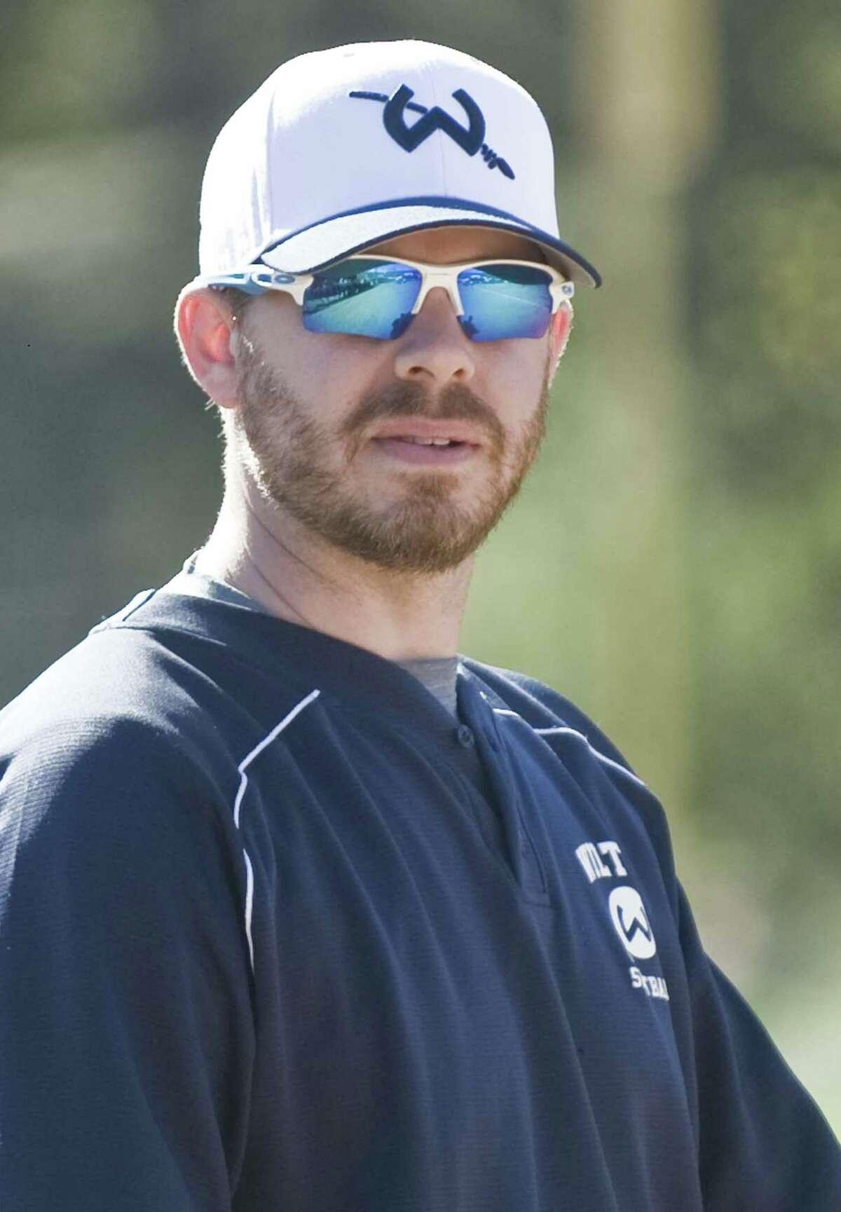 Wilton High School softball Head Coach Brian Jacobs. Wednesday, April 20, 2016