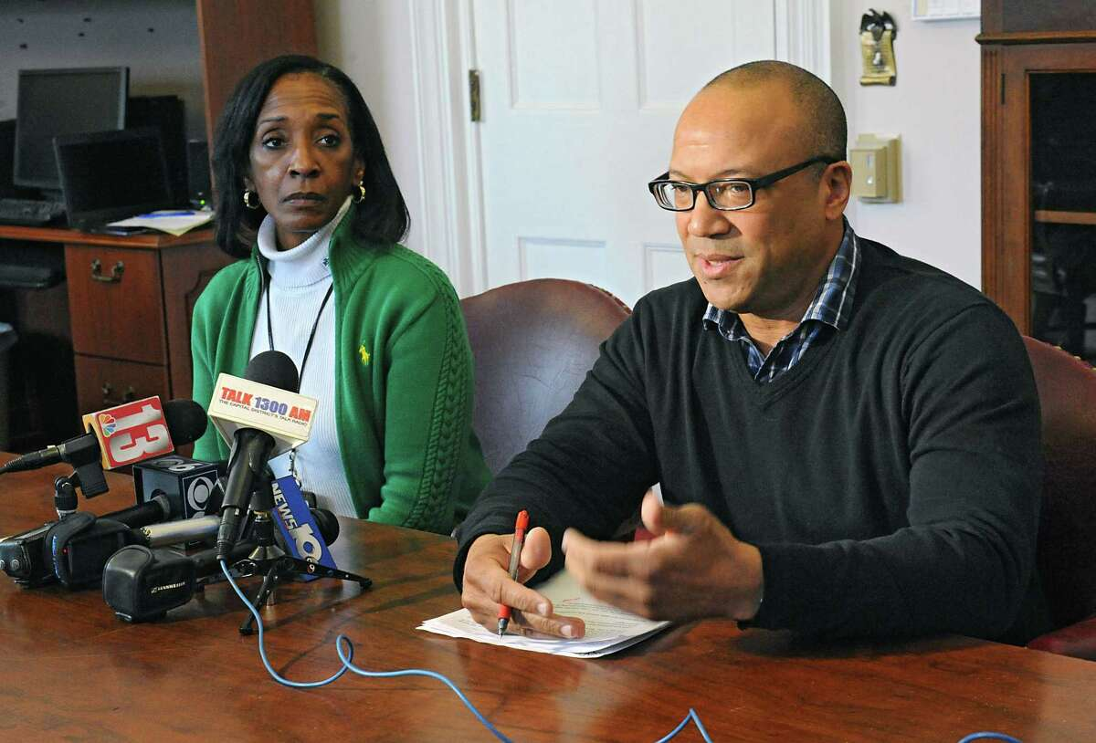Albany school board president Kenny Bruce, right, and acting district superintendent Kim Wilkins speak to media about the outcome of Tuesday's $180M Albany High referendum on Wednesday, Feb. 10, 2016 in Albany, N.Y.(Lori Van Buren / Times Union)