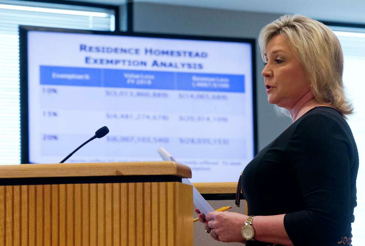 Montgomery County Tax Assessor Collector Tammy McRae speaks during Commissioners Court at the Alan B. Sadler Commissioners Court Building on Tuesday, March 28, 2017, in Conroe. Court members approved a 20% homestead exception for residents.