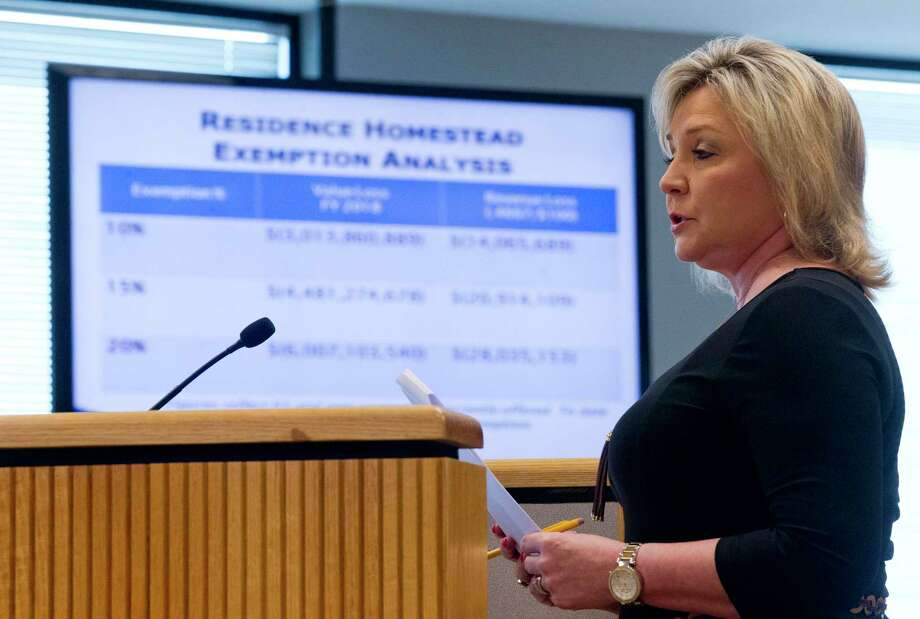 Montgomery County Tax Assessor Collector Tammy McRae  speaks during Commissioners Court at the Alan B. Sadler Commissioners Court Building on Tuesday, March 28, 2017, in Conroe. Court members approved a 20% homestead exception for residents. Photo: Jason Fochtman, Staff Photographer / © 2017 Houston Chronicle