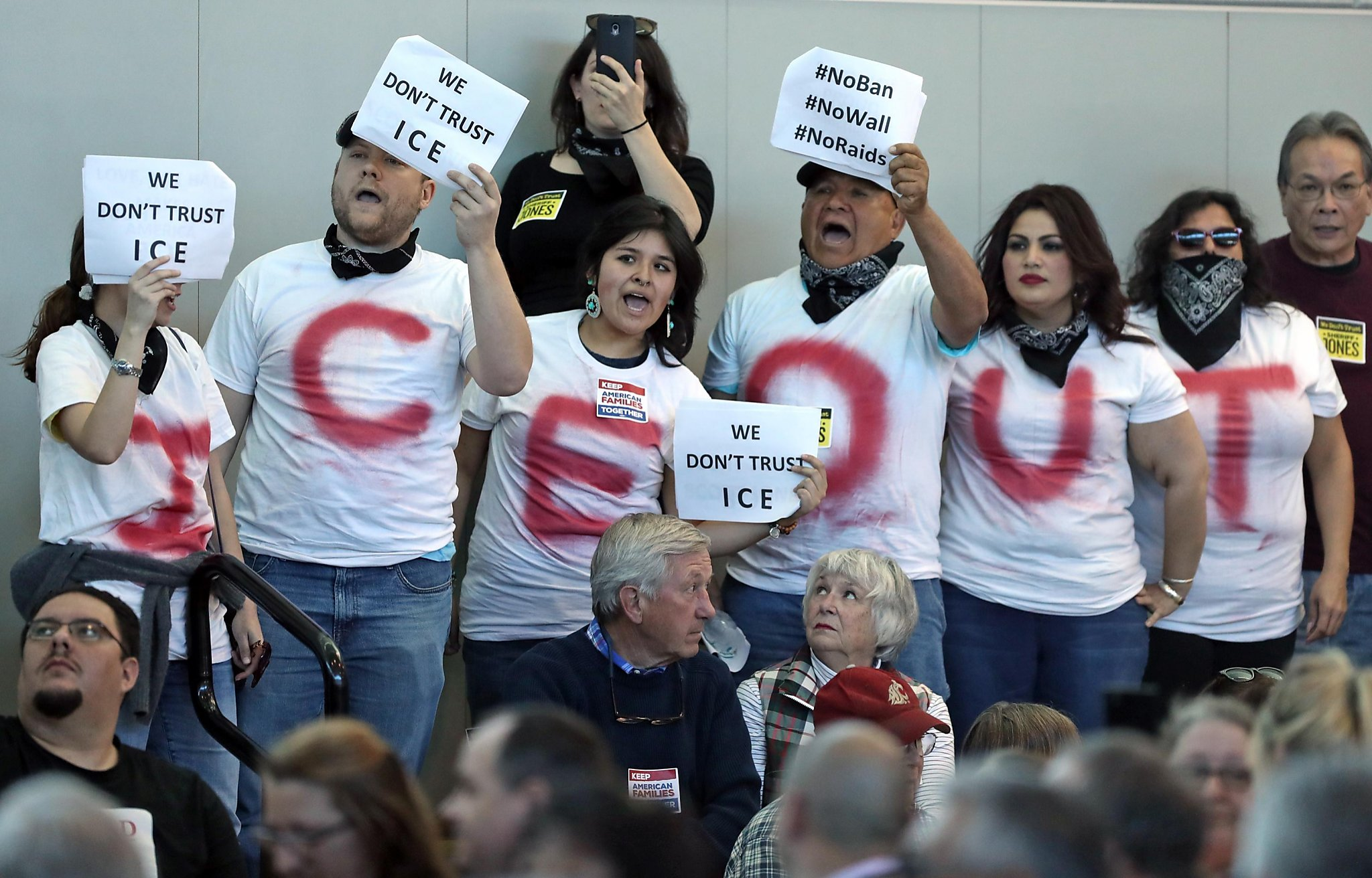 89cbb8040 SACRAMENTO — A raucous crowd of several hundred people greeted the head of  the country s immigration enforcement agency at a public forum in a  Sacramento ...