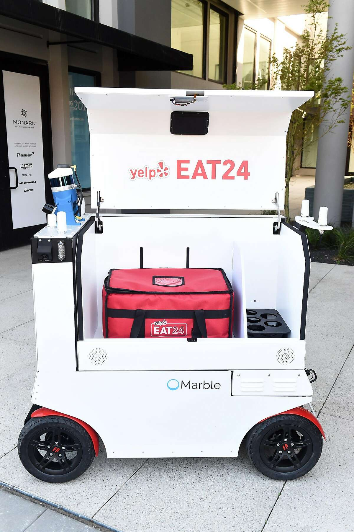This robot, made by start up company Marble, is photographed on March 28, 2017 in San Francisco. It is made to deliver food and other things as well.