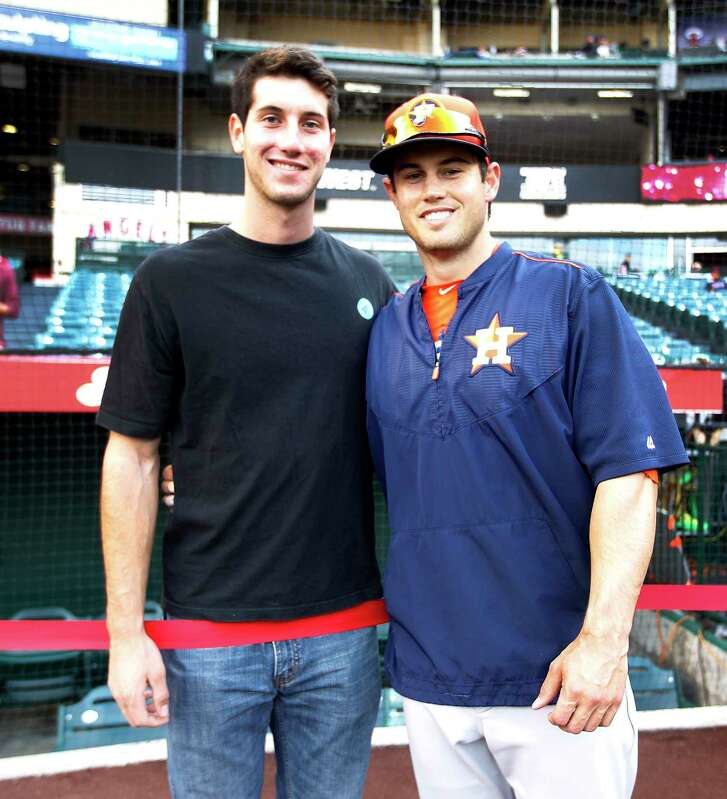 Houston Astros left fielder Preston Tucker with his brother Kyle Tucker during batting practice before the start an MLB game at Angels Stadium on Saturday, May 9, 2015, in Anaheim.  ( Karen Warren / Houston Chronicle  )