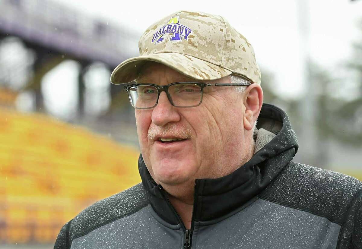 University at Albany head football coach Greg Gattuso talks to the press as the football team practices on Tuesday, March 28, 2017 in Albany, N.Y. (Lori Van Buren / Times Union)