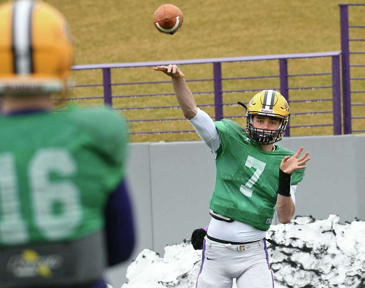 University at Albany quarterback Will Brunson, #7, throws the ball as the football team practices on Tuesday, March 28, 2017 in Albany, N.Y. (Lori Van Buren / Times Union)