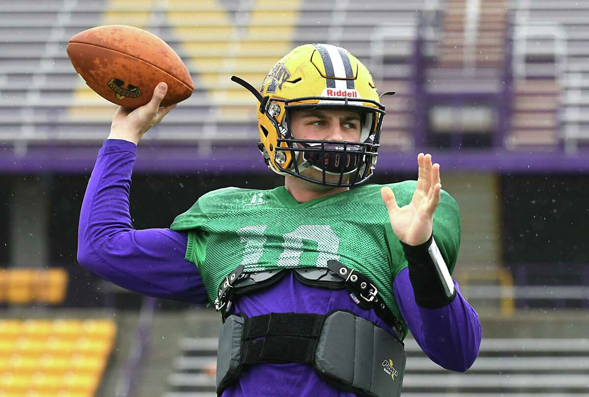 University at Albany quarterback Neven Sussman throws the ball as the football team practices on Tuesday, March 28, 2017 in Albany, N.Y. (Lori Van Buren / Times Union)