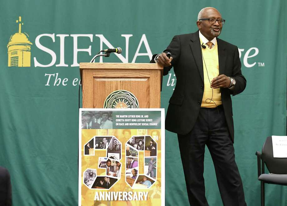 Keynote speaker Dr. Robert Bullard addresses an audience at the 30th Annual Martin Luther King Jr. and Coretta Scott King Lecture Series on Race and Nonviolent Social Change at Siena College on Tuesday, March 28, 2017 in Loudonville, N.Y. Bullard is an environmental justice scholar and author, OEnvironmental Justice and the Politics of Place: Why Equity Matters.O ( Lori Van Buren / Times Union) Photo: Lori Van Buren / 20039955A