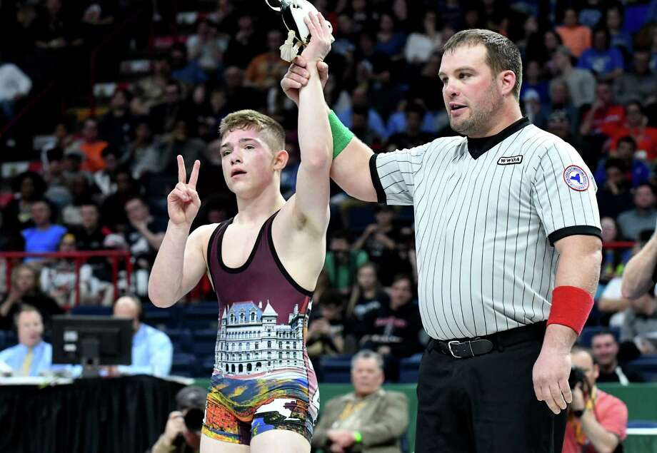 Orion Anderson of Schuylerville High School claims the 120-pound Division II title during the New York State Wrestling Championships on Saturday, Feb. 25, 2017, at the Times Union Center in Albany, N.Y. He beat Luke Bokina Mattituck from Sec 11. (Will Waldron/Times Union) Photo: Will Waldron / 40039762A