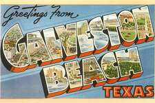 Greetings from Galveston Beach, Texas large letter vintage postcard (Photo by Found Image Holdings/Corbis via Getty Images)