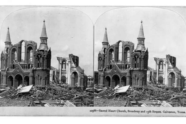 Ruins of the Sacred Heart Church in Galveston, destroyed by a hurricane in 1900. | Location: Broadway and 13th Street, Galveston, Texas, USA.    (Photo by Library of Congress/Corbis/VCG via Getty Images)