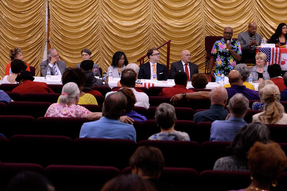 Candidates for Beaumont City Council and mayor answer questions during Operation One Vote's candidate forum at Cathedral of Faith Baptist Church on Tuesday night. Beaumont ISD candidates also participated in the forum.  Photo taken Tuesday 3/28/17 Ryan Pelham/The Enterprise Photo: Ryan Pelham, Ryan Pelham/The Enterprise / ©2017 The Beaumont Enterprise/Ryan Pelham
