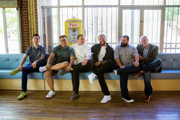 Better Luck Tomorrow is the name of the new neighborhood bar/restaurant from Bobby Heugel and Justin Yu. Shown, left to right: Alex Negranza (bar manager), partner Justin Yu, Matt Boesen (chef), partner Bobby Heugel, Terry Williams (operations manager), and partner Steve Flippo.
