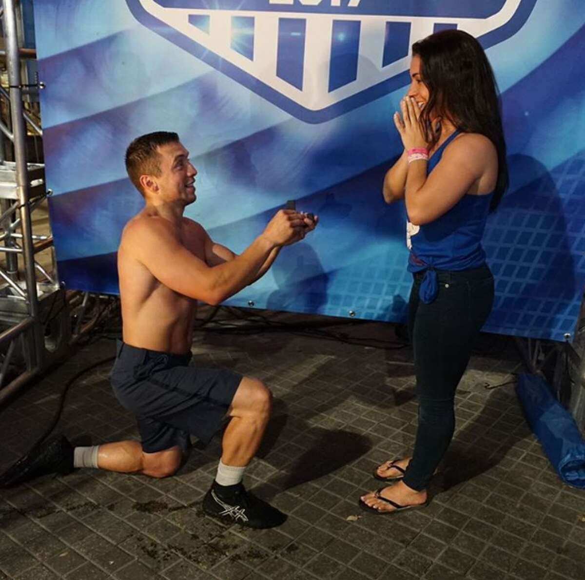 From swinging through American Ninja Warrior's overhead rings to pulling out an engagement ring, Maxo Soria picked San Antonio to make two dreams come true in one night when he ran the course and proposed to Paris Ryder.