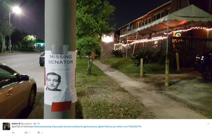 """Houstonians are spotting these """"Missing Senator"""" signs around the city of Houston.   Source:  Twitter"""