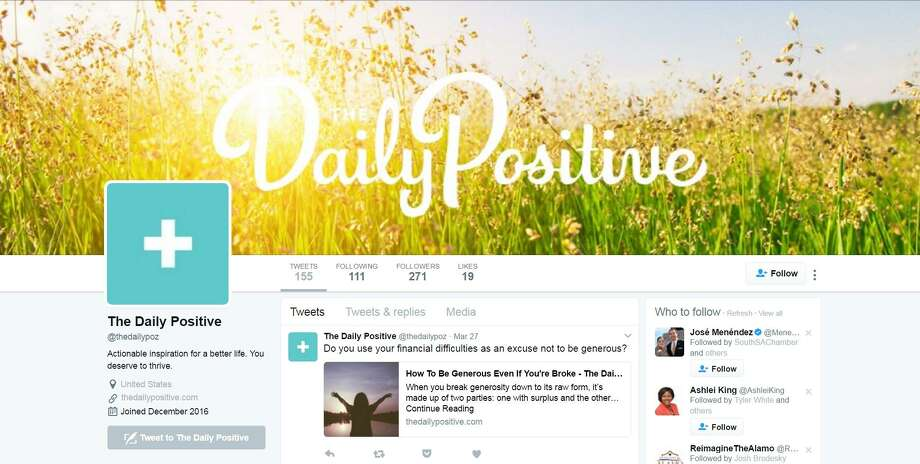 "The Daily PositiveTwitter: @thedailypoz, Facebook: The Daily PositiveThe Daily Positive's mission says it all: provide positivity and actionable inspiration. Consider that mission accomplished with plenty of affirming quotes (i.e. ""Spend well, not more"") and articles (""How To Work Smarter And Not Harder""). Photo: Screenshot"