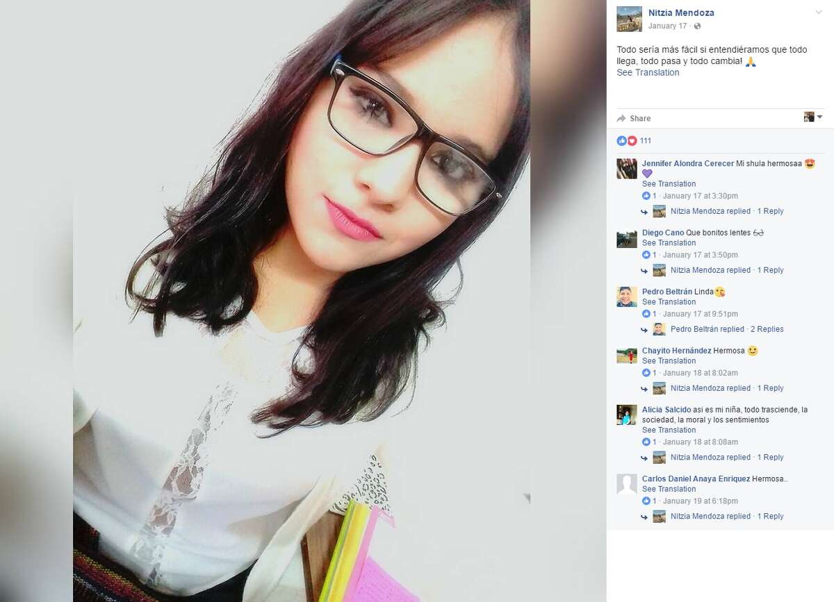 Nitzia Mendoza Corral, 18, was killed March 26, 2017 in Mexico after being hit by a plane.