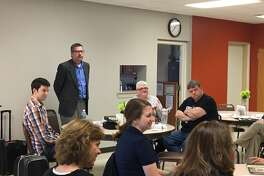Edwardsville Township Supervisor speaks at the Senior Services Network Kick-Off on Sunday, March 19 at the Main Street Community Center.