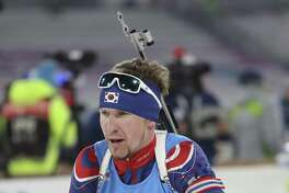 """In this Sunday, March 5, 2017 photo, Naturalized biathlete Timofei Lapshin competes during the men's 4x7.5 km relay competition for the Biathlon World Cup at the Alpensia Biathlon Centre in Pyeongchang, South Korea. Biathlete Lapshin said he's now known as """"the Russian Viktor Ahn"""" after making the switch in reverse. Lapshin is a talented athlete, with a smattering of podium finishes on the World Cup circuit, but struggled to make the highly-competitive Russian team. After a super-fast naturalization process - he says the first enquiries were made only in September - he now holds a South Korean passport. (AP Photo/Lee Jin-man)"""