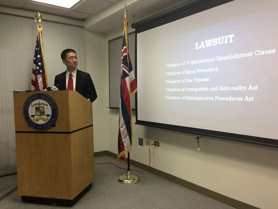 Hawaii Attorney General Doug Chin told a federal judge President Trump's travel ban discriminates against Muslims and hurts the state's economy Photo: Audrey McAvoy, Associated Press