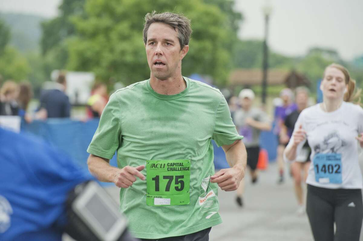 UNITED STATES - MAY 18: Rep. Beto O'Rourke, D-Texas, finishes the ACLI Capital Challenge 3 Mile Team Race in Anacostia Park, May 18, 2016. Sen. Tom Cotton, R-Ark., was the fastest runner in Congress. (Photo By Tom Williams/CQ Roll Call)