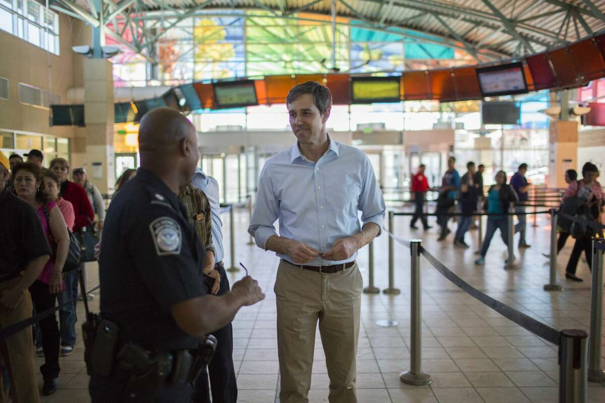 EL PASO, TX FEBRUARY 10, 2017-Beto O'Rourke (D-Tex.) speaks to a customs agent has he crosses into El Paso from Juarez, Friday, February 10, 2017, in El Paso, Texas. (Photo by Ivan Pierre Aguirre/ For The Washington Post via Getty Images)