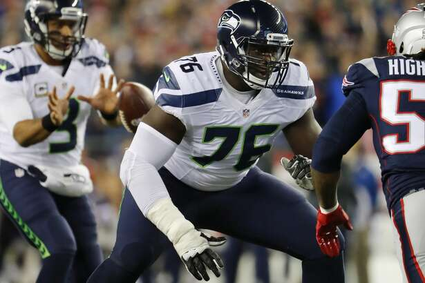Seattle Seahawks offensive guard Germain Ifedi during an NFL football game against the New England Patriots at Gillette Stadium in Foxborough, Mass. Sunday, Nov. 13, 2016. (Winslow Townson/AP Images for Panini)