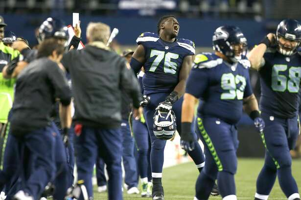 SEATTLE, WA - NOVEMBER 07:  Germain Ifedi #76 of the Seattle Seahawks reacts as time runs down against the Buffalo Bills at CenturyLink Field on November 7, 2016 in Seattle, Washington.  (Photo by Otto Greule Jr/Getty Images)