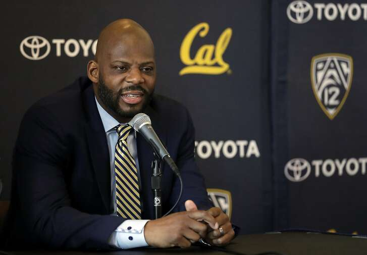 Wyking Jones fields questions during a NCAA college basketball press conference to announce his new appointment as California men's basketball coach Wednesday, March 29, 2017, in Berkeley, Calif. (AP Photo/Marcio Jose Sanchez)