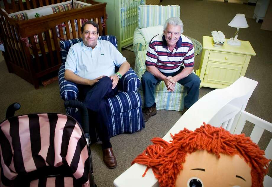 Seth Berger, third generation principal, and Guy Esposito, store manager, of Kids Home Furnishings in Stamford, Conn. on Wednesday June 2, 2010. Photo: Kathleen O'Rourke / Stamford Advocate