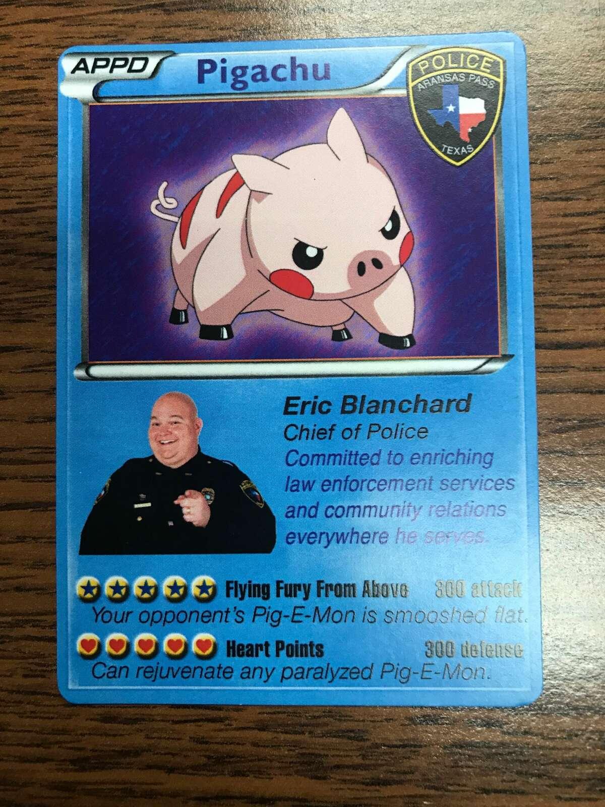 Pigachu is the Pig-E-Mon card for Aransas Pass Police Chief Eric Blancahard.