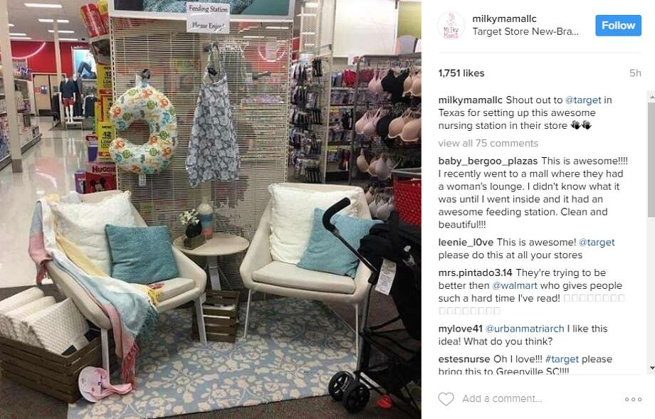 """Social media's spotlight is shining on New Braunfels, where a Target store is being praised by mothers across the nation for providing an """"awesome"""" feeding station."""