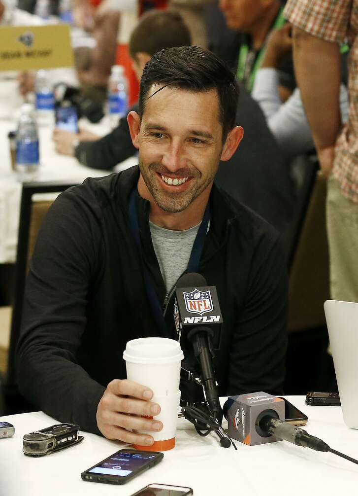 San Francisco 49ers head coach Kyle Shanahan smiles as he is asked a question by a reporter during the NFC Head Coaches Breakfast at the NFL football annual meetings Wednesday, March 29, 2017, in Phoenix. (AP Photo/Ross D. Franklin)