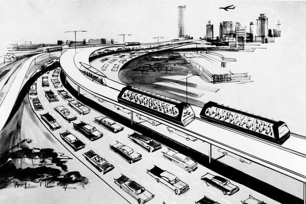 From the Feb. 9, 1963, Houston Post - THE FUTURE?: THE 'SKYWAY TRANSIT SYSTEM' IS ONE PROPOSAL. Rubber-tired vehicles would ride on elevated ramps above freeways. 