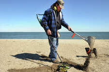 Tony Schell, of Fairfield, and his dog Chloe, take advantage of the sunny spring weather to dig for buried treasures at Penfield Beach in Fairfield, Conn. on Wednesday, March 29, 2017.