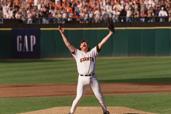 BECK JUBE/27SEP97/MN/WARD--Rod Beck reacted to his strike out of Greg Vaughn to wrap up the Western Division title. By Brant Ward/Chronicle