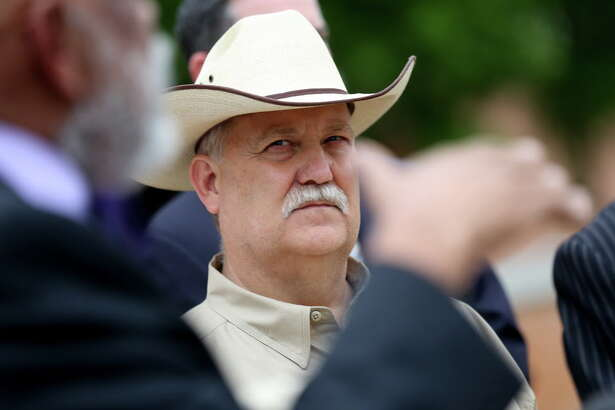 Waller County Sheriff Glenn Smith listens to the Waller County Sheriff's Commission present its Recommended Police & Jail Practices report regarding the 2015 death of Sandra Bland during a news conference outside the Waller County Courthouse on  Tuesday, April 12, 2016, in Hempstead, Texas. (Elizabeth Conley   Houston Chronicle)