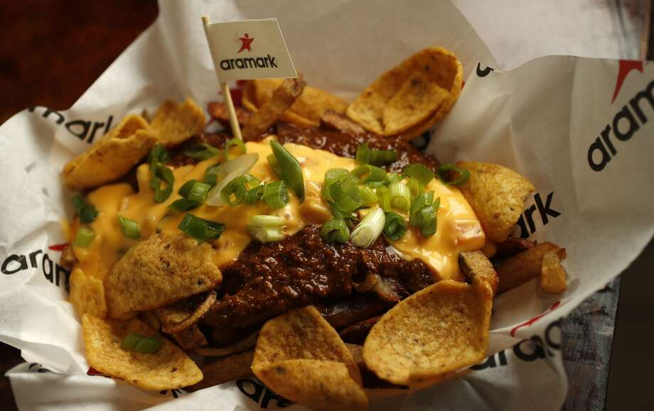 The Frito Pie Stak from the Budweiser Brew House, on display as the Astros unveiled the Minute Maid Park menu highlights,  Wednesday, March 29, 2017, in Houston. ( Karen Warren / Houston Chronicle ) Photo: Karen Warren/Houston Chronicle