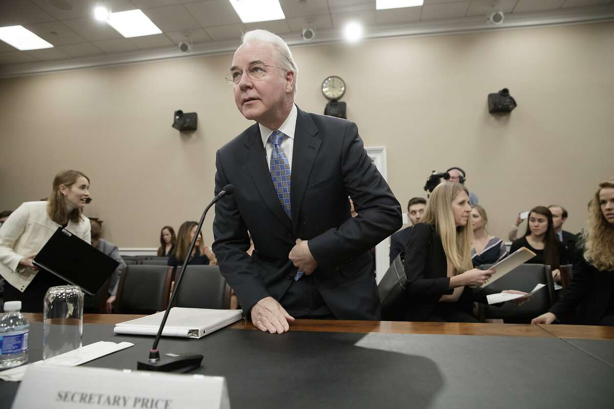Health and Human Services Secretary Tom Price, a doctor and former congressman, arrives on Capitol Hill in Washington, Wednesday, March 29, 2017, to testify before a House Appropriations subcommittee hearing to outline the Trump Administration's proposals to trim the HHS budget. (AP Photo/J. Scott Applewhite)