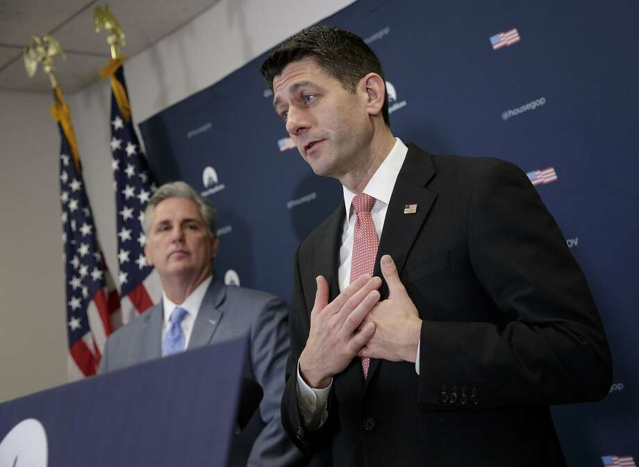 Speaker of the House Paul Ryan, R-Wis., joined by Majority Leader Kevin McCarthy of Calif., talks about getting past last week's failure to pass a health care overhaul bill and rebuilding unity in the Republican Conference, Tuesday, March 28, 2017, on Capitol Hill in Washington. (AP Photo/J. Scott Applewhite) Photo: J. Scott Applewhite, Associated Press