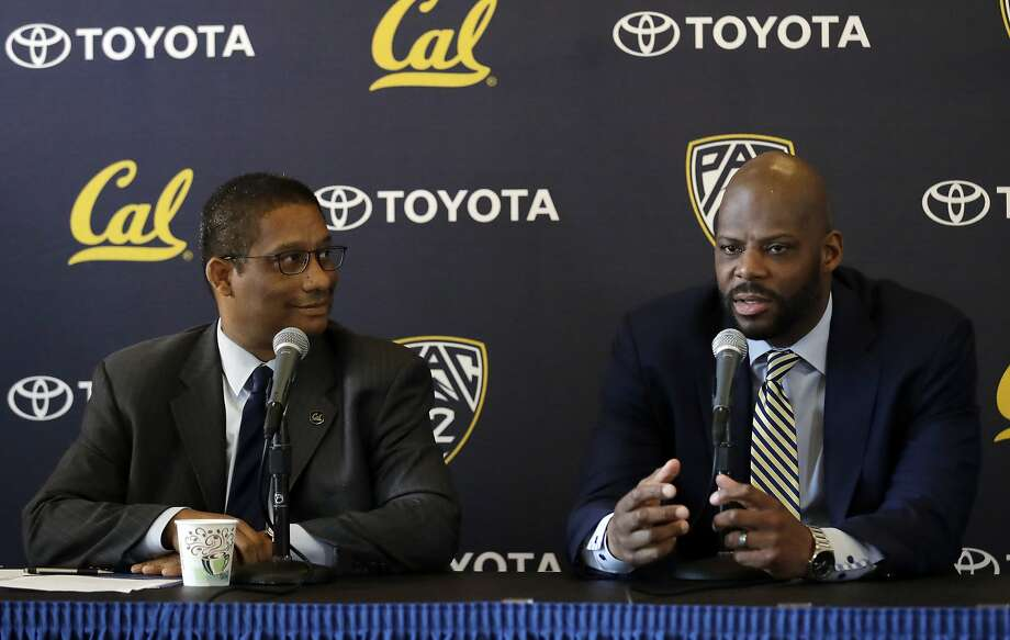 New Cal basketball coach Wyking Jones, right, fields questions alongside athletic director Mike Williams during a news conference in Berkeley on Wednesday. Photo: Marcio Jose Sanchez, Associated Press