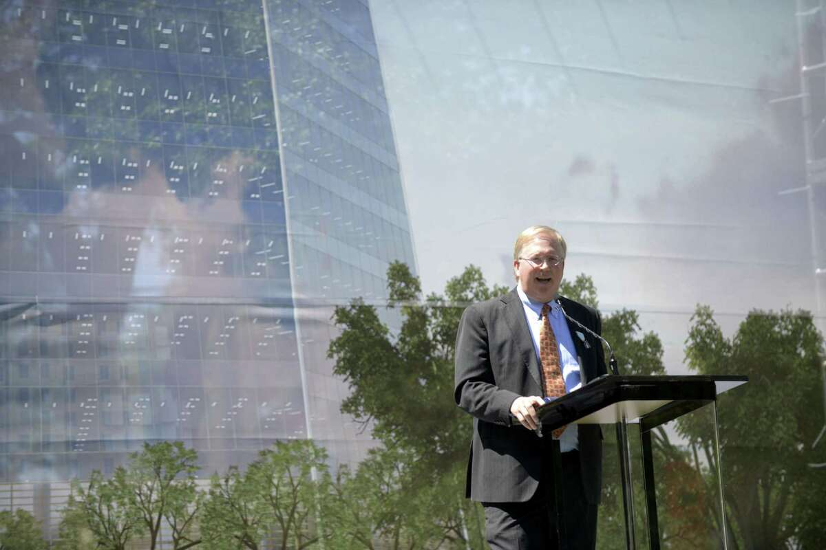Local tech magnate Graham Weston speaks on Wednesday. He co-founded Weston Urban, which is building the new Frost Tower.
