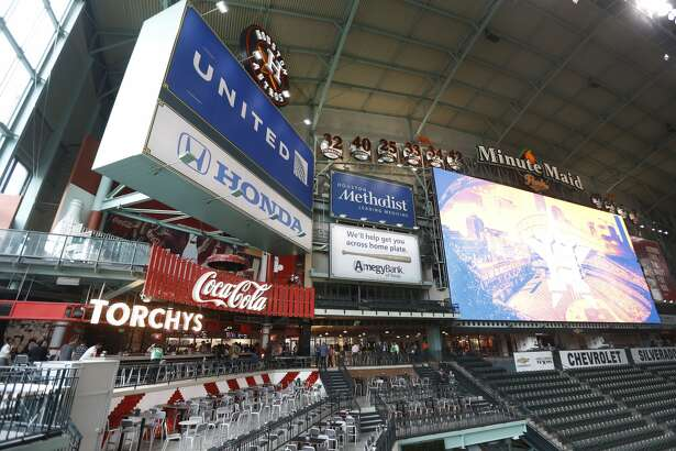 Patio area outside ofTorchy's Tacos on the center field Mezzanine Level during the tour of the new center field at Minute Maid Park,  Wednesday, March 29, 2017, in Houston. ( Karen Warren / Houston Chronicle )