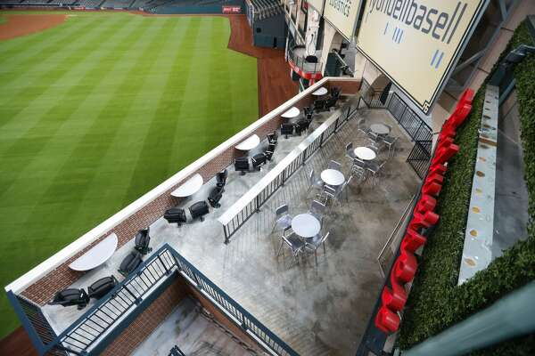 Budweiser Batter's Eye Bar Patio in center field during the media tour of the new center field at Minute Maid Park,  Wednesday, March 29, 2017, in Houston. ( Karen Warren / Houston Chronicle )