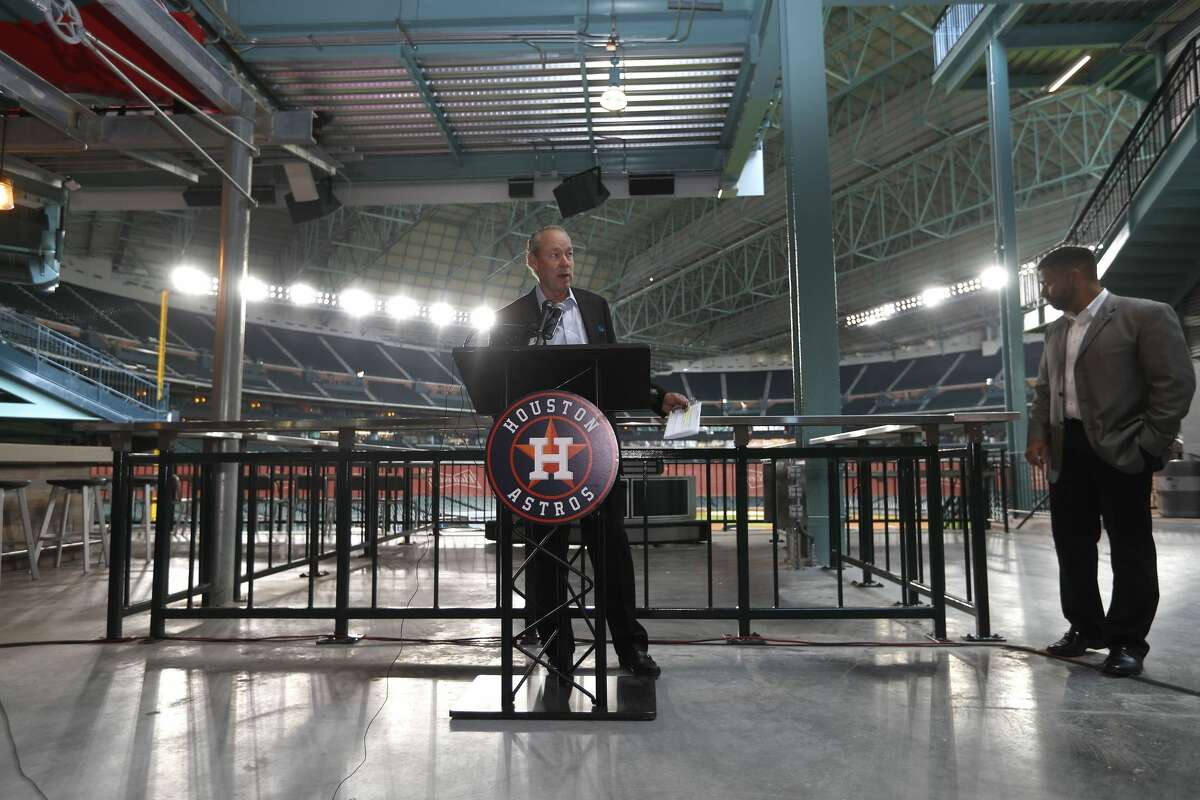 PHOTOS: Strangest things to happen at an Astros game at Minute Maid Park Houston Astros owner Jim Crane speaks during the tour of the new center field at Minute Maid Park, Wednesday, March 29, 2017, in Houston. ( Karen Warren / Houston Chronicle )