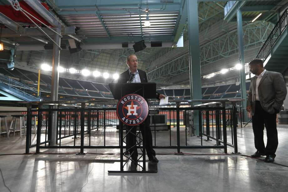 Houston Astros owner Jim Crane speaks during the tour of the new center field at Minute Maid Park,  Wednesday, March 29, 2017, in Houston.Keep going to see how much cash each of the Astros' players will bring in this season.  Photo: Karen Warren/Houston Chronicle