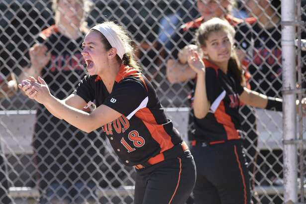 Stamford's Lauren O'Neill (18) cheers after her team scored a run in Stamford's 7-6 win over Fairfield Ludlowe in the high school softball game at Stamford High School in Stamford, Conn. Monday, May 16, 2016.