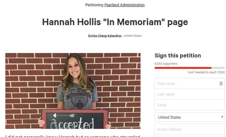 "This image is from a petition posted online, urging Pearland ISD to allow friends of Hannah Hollis, who died by suicide, to feature Hollis in a yearbook ""In Memoriam"" page."