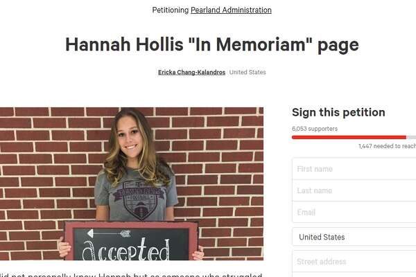"""This image is from a petition posted online, urging Pearland ISD to allow friends of Hannah Hollis, who died by suicide, to feature Hollis in a yearbook """"In Memoriam"""" page."""