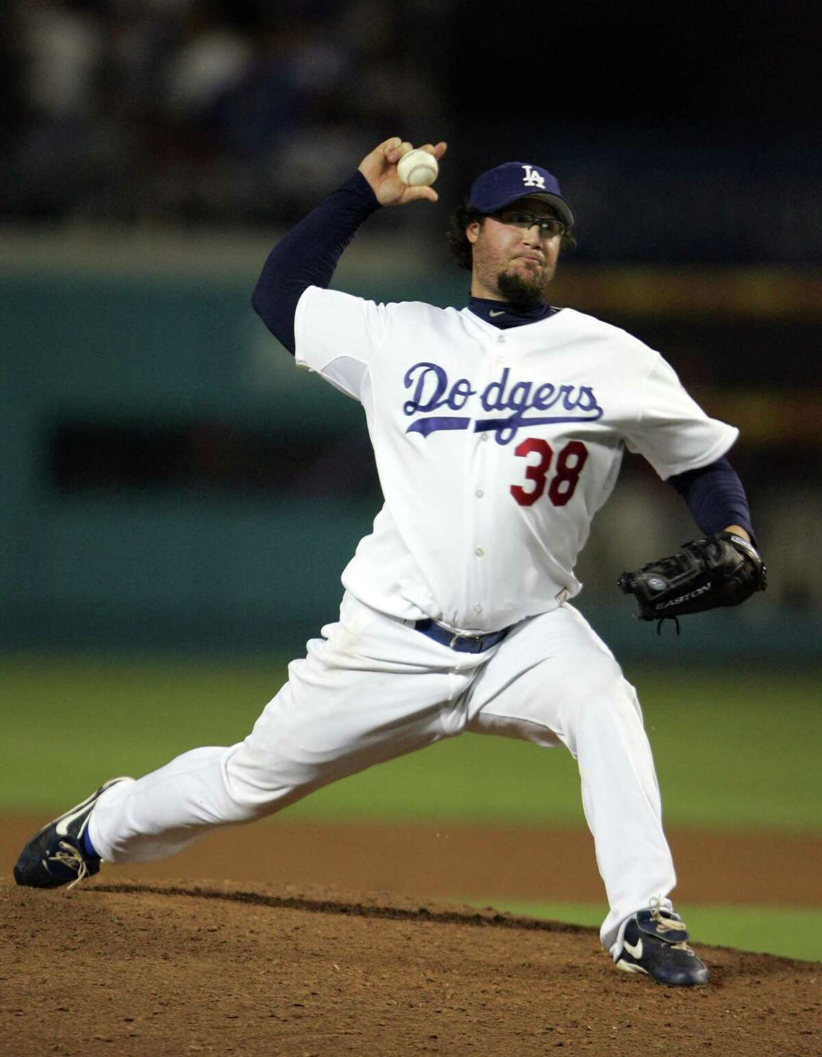 Los Angeles Dodgers pitcher Eric Gagne pitches against the Philadelphia Phillies during the ninth inning in an MLB baseball game, Friday, June 2, 2006, in Los Angeles. (AP Photo/Jeff Lewis)